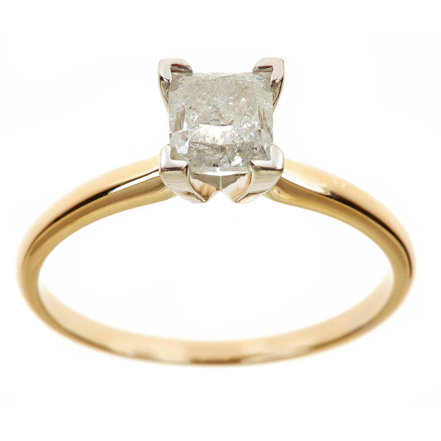 1.25 Carat T.W. Princess White Diamond 14kt Yellow Gold Solitaire Ring, IGL certified