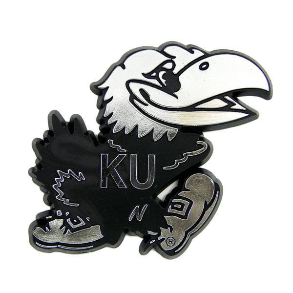 Kansas Jayhawks Silver Auto Emblem Decal Sticker