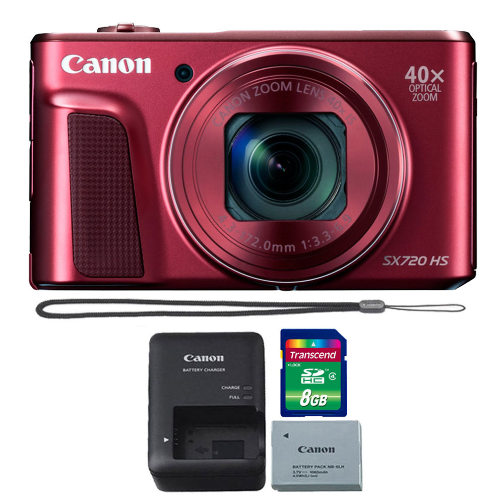 Canon PowerShot SX720 HS 20.3MP 40X Zoom Built-In Wifi / NFC Full HD 1080p Point and Shoot Digital Camera Red with 8GB Memory Card