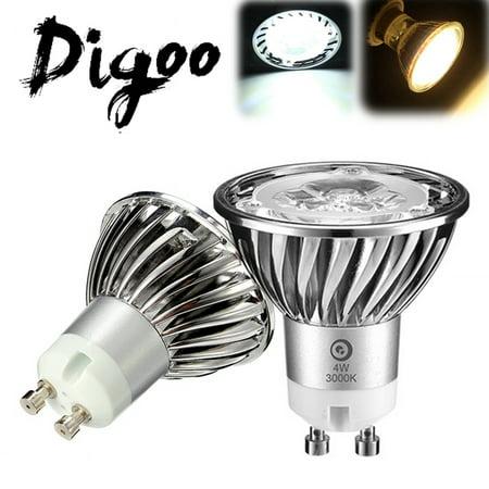 Digoo Parrot Series GU10 AC 85-265V 4W 3 LED COB High Power Replacement Aluminum Spot Light Bulb 6500K Pure White