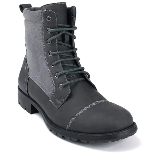 Alpine Swiss Men's Combat Boots Lug Sole Rugged Canvas Trim Military Field Shoes Gray Size 8