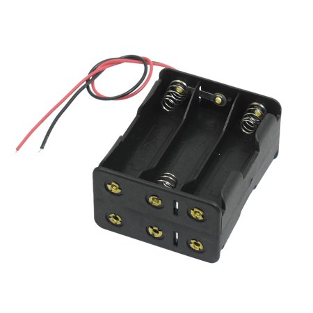 Unique Bargains Black Tow Layers 6 x 1.5V AA Batteries Battery Holder Case Box w Wire Leads