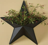 "14"" Black Western Texas Star Wall Pocket Decoration"