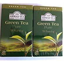 Pack of 2 - 20 Bags Each Ahmad Pure Green Tea
