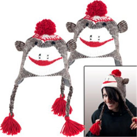 Trademark Poker 80-1123-2 Set of 2 Adult Size Brown Sock Monkey Knit - Adult Sock Monkey Hat