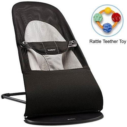 Baby Bjorn 005028US Bouncer Balance Soft-  Mesh Black Gray with Rattle Teether T