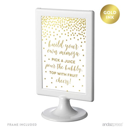 Metallic Gold Confetti Polka Dots 4x6-inch Party Signs, Build Your Own Mimosa, Includes Frame Antique Gold Peace Sign