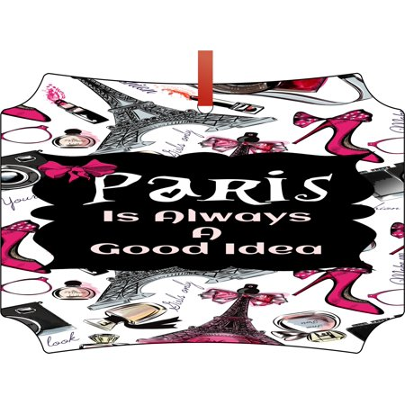 Paris is Always a Good Idea Elegant Glossy Double Sided Aluminum Christmas Ornament Tree Decoration - Unique Modern Novelty Tree Décor Favors