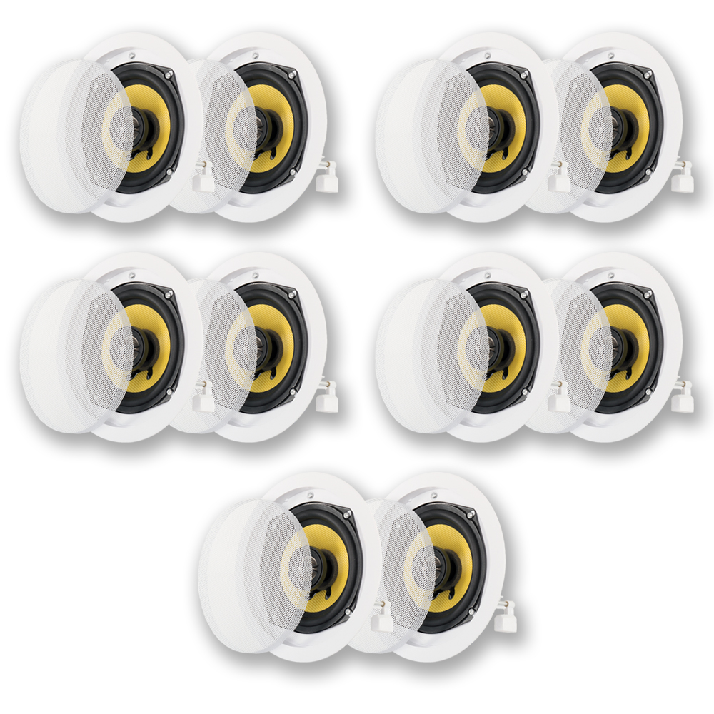 Acoustic Audio HD-5 In Ceiling Speakers Home Theater Surround Sound 5 Pair Pack