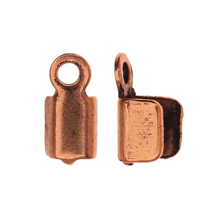 Nunn Design Foldover Crimp Ends, For Finishing Cords 2.5mm, 6 Pieces, Antiqed Copper Plated Copper Crimp End
