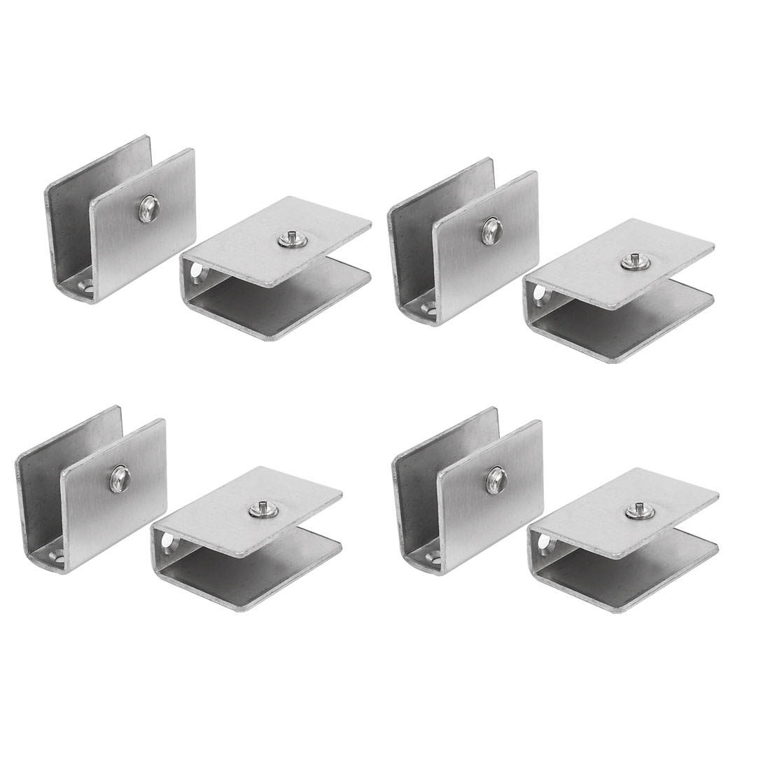 Épaisseur 10mm-12mm rectangle Acier Inoxydable Collier Tablette en verre porte clip 8Pcs