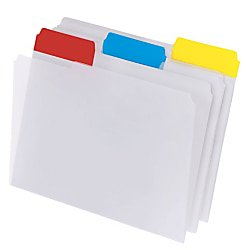 Office Depot® Brand Top Tab Poly File Folders, Letter Size, Clear With Assorted Color Tabs, Box Of 15 ()