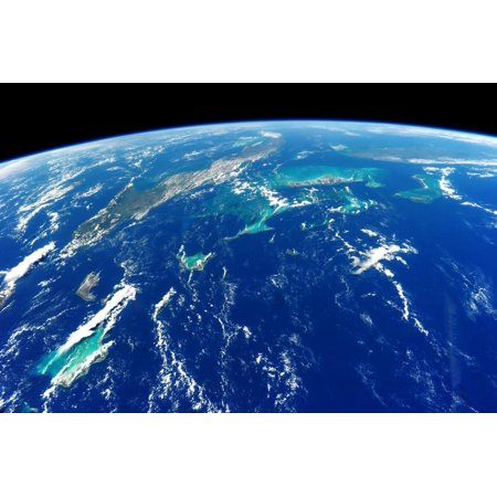 View of planet Earth from space showing Turks and Caicos Islands and Cuba Print Wall