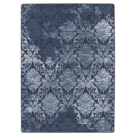 Milliken Drayton Area Rugs - 4000174043 Contemporary Sapphire Diagonal Repeat Faded Scrolls Rug