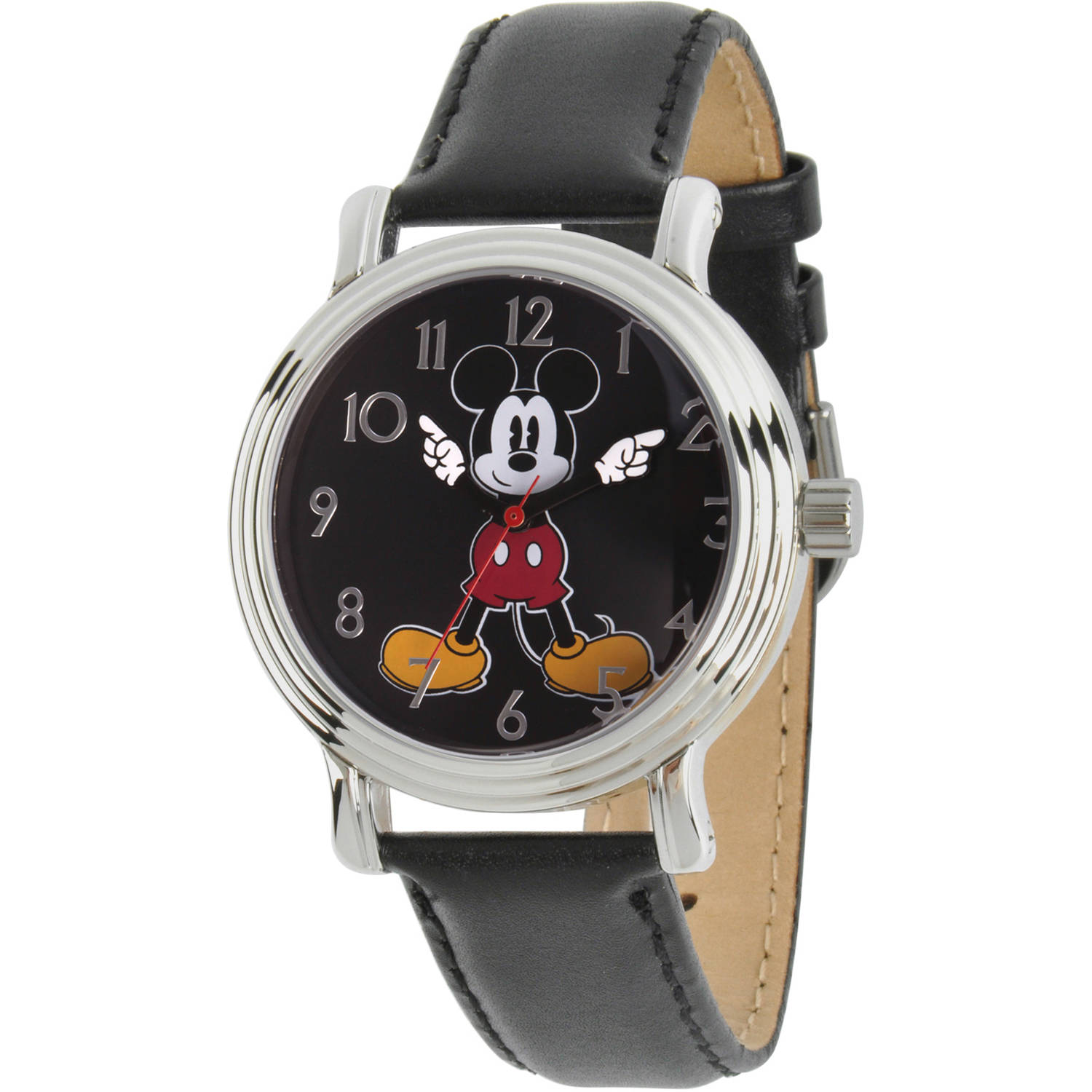 Articulating Mickey Mouse Women's Silver Vintage Alloy Watch, Black Leather Strap