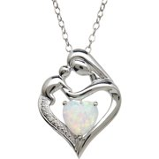 Created Opal and Diamond Accent Pendant in Sterling Silver, 18