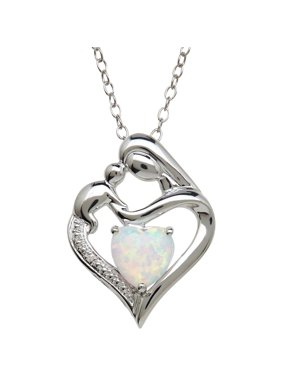 "Brilliance Fine Jewelry Created Opal and Diamond Accent Mother and Child Heart Pendant Necklace in Sterling Silver, 18"" Chain"