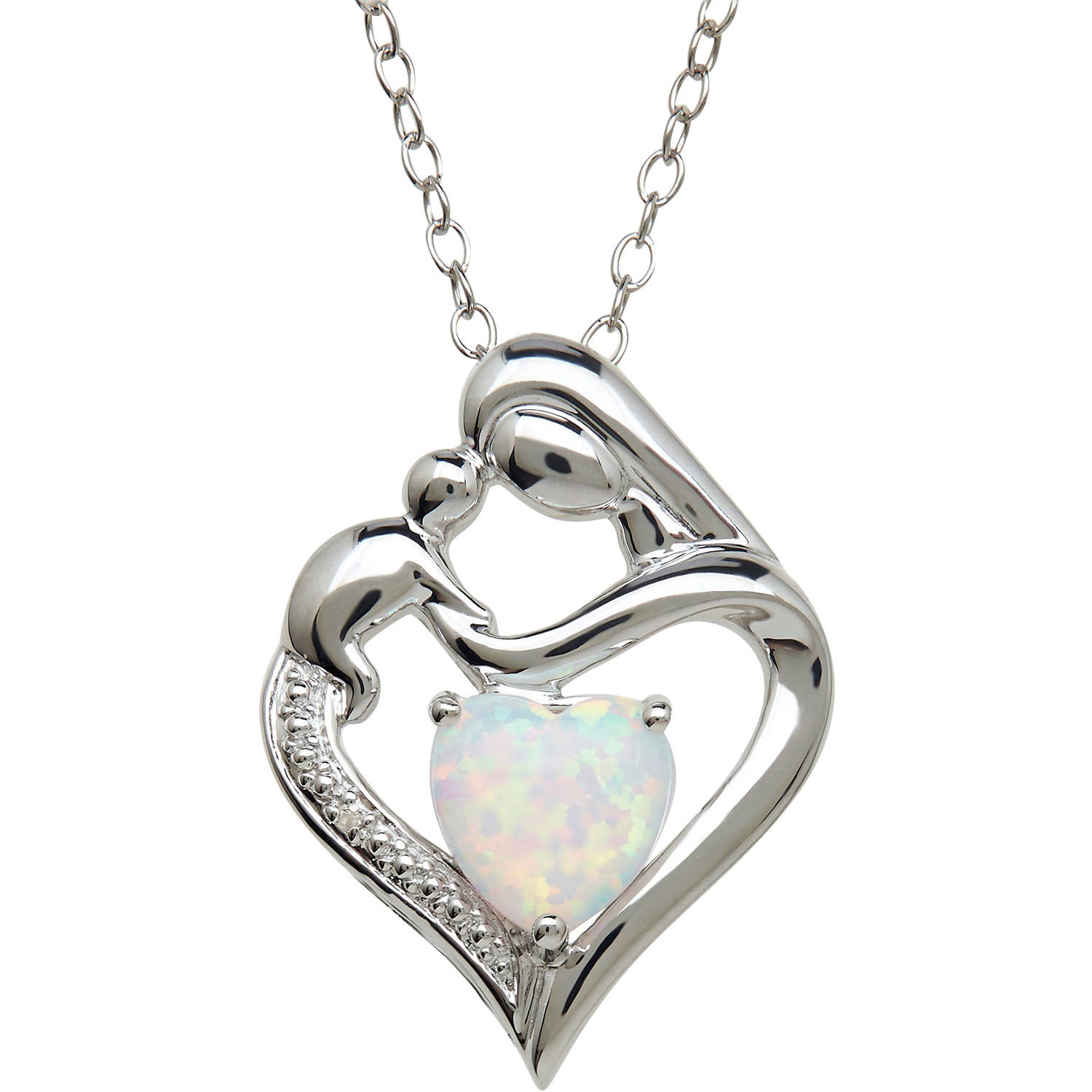 Mother and Child Created Opal and Diamond Accent Pendant in Sterling Silver, 18""