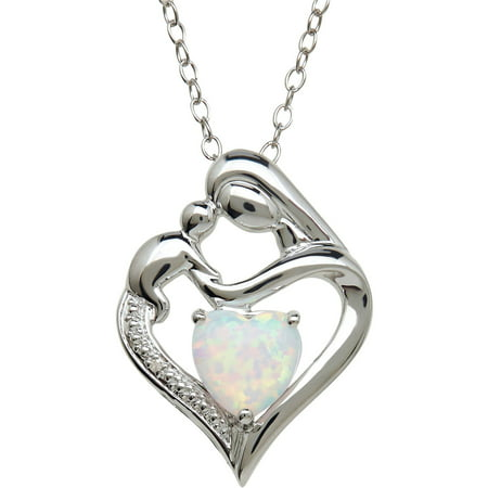 "Created Opal and Diamond Accent Pendant in Sterling Silver, 18"" Necklace"