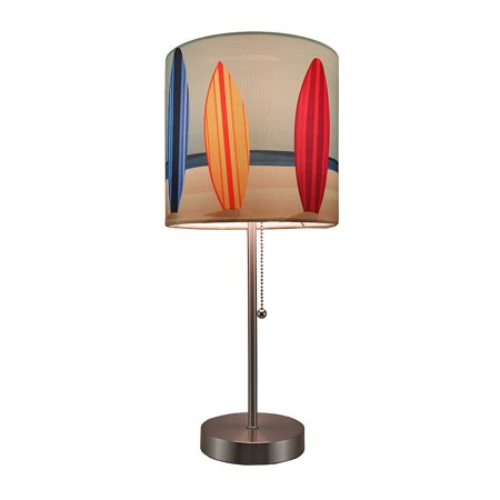 Surfboard Beach Stainless Steel Accent Lamp w/Decorative Shade ()