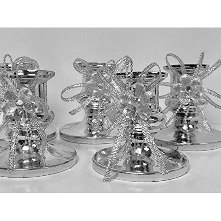 16 Silver Candle Holder Favor with Silver Flower Decoration for Sweet 16 Wedding All Occasions