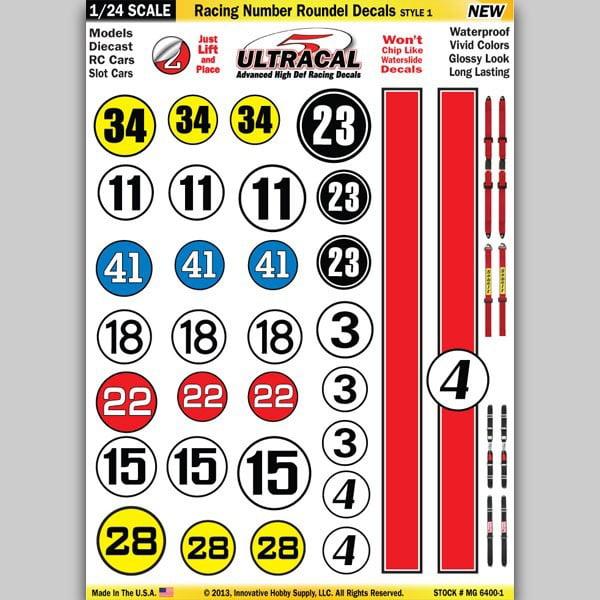 1 24 Ultracal Hi Def Peel Stick Decals Racing Number Roundel Red