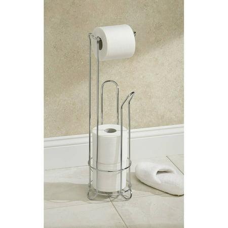 interdesign chrome toilet paper holder stand. Black Bedroom Furniture Sets. Home Design Ideas