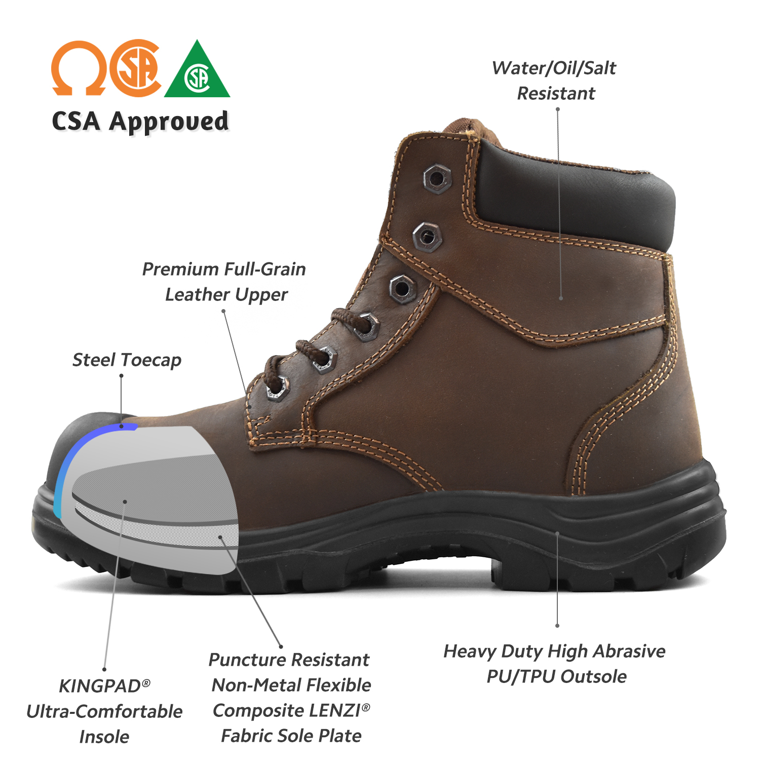 Work Boots Steel Toe Leather 3055