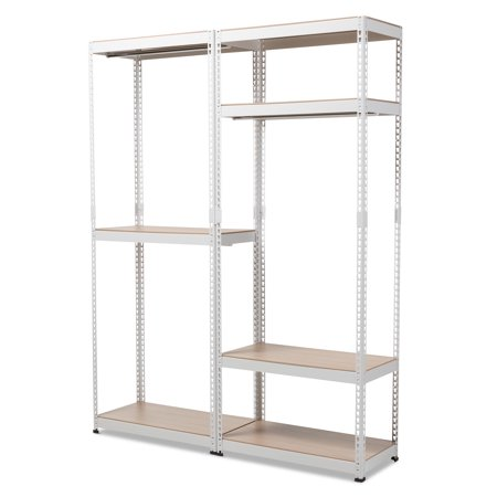 Baxton Studio Gavin White Metal 7-Shelf Closet Storage Racking