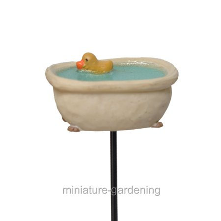 Miniature Micro Bathtub with Duck Pick for Miniature Garden, Fairy Garden