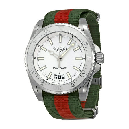 6732611e24d Gucci - Dive Silver Dial Red and Green Nylon Mens Watch YA136207 -  Walmart.com