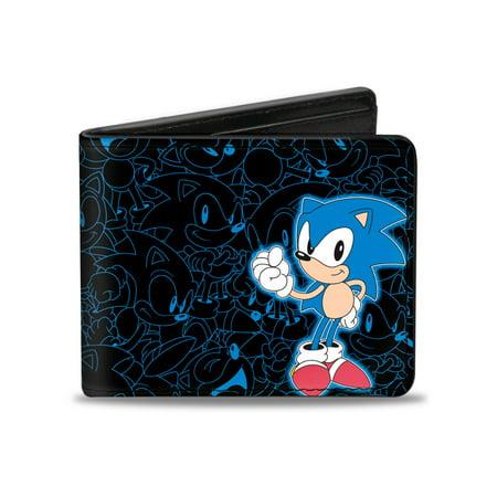 Sonic the Hedgehog Animated Character Hedgehog Outlines Bi-Fold Wallet (Hedgehog Outline)