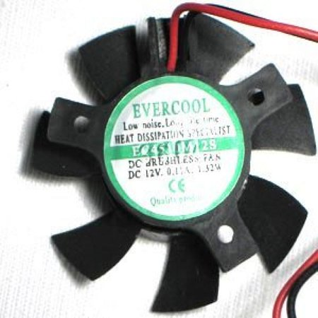 (Evercool 45mm, 10mm Thick, 12v Bury Frame, 2 Pin, VGA Cooler Replacement Fan, 4000rpm)