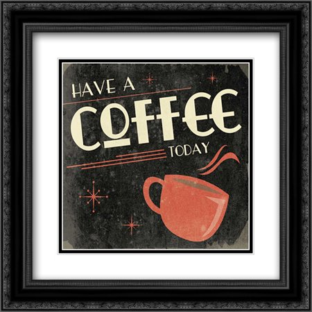 Coffee 2x Matted 20x20 Black Ornate Framed Art Print by Grey, Jace