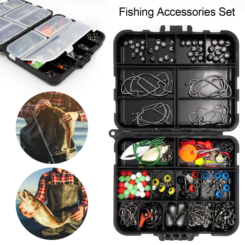 188PCS Fishing Accessories Carp Kit Set Tackle Box Pliers Jig Hook Scissors Tool