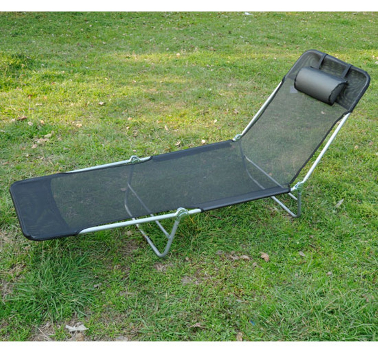 Great Outsunny Folding Beach Chaise Lounge / Pool Reclining Chair   Black