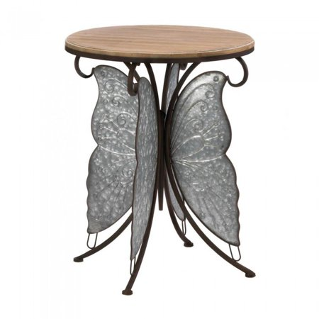 RUSTIC BUTTERFLY ACCENT TABLE (Pearl Butterfly Table)