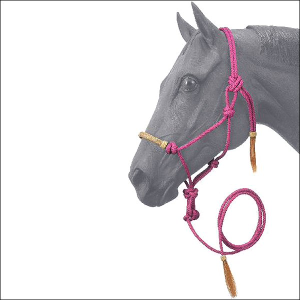 PINK TOUGH1 HORSE SIZE RAWHIDE NOSEBAND POLY NYLON ROPE HALTER W/ LEAD