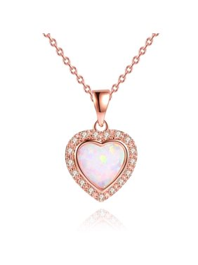 Peermont 3 Carat Fire Opal Heart Necklace in 18K Rose Gold Plating