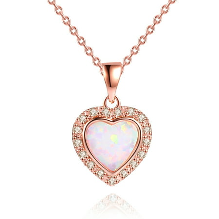 Lab-Created Fire Opal Heart Necklace in 18K Rose Gold -