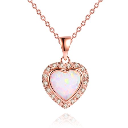 3 Carat Fire Opal Heart Necklace in 18K Rose Gold Plating (3 Gold Necklace)