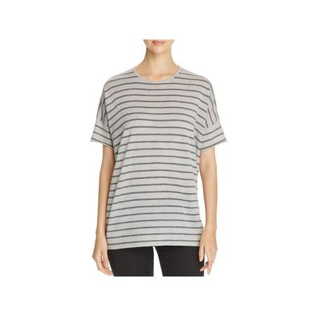 Eileen Fisher Womens Merino Wool Striped Pullover Sweater Gray XS ()