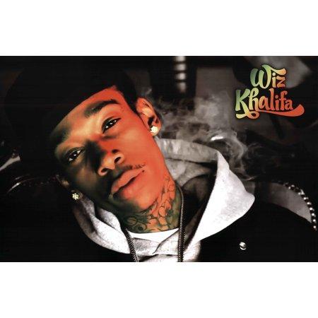 Wiz Khalifa Closeup Smoke Hip Hop Rapper Music Poster 36x24 inch - Wiz Khalifa Halloween Beat
