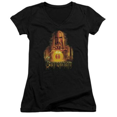 The Lord Of The Rings Movie Saruman Sauron Palantir Juniors V Neck T Shirt Tee