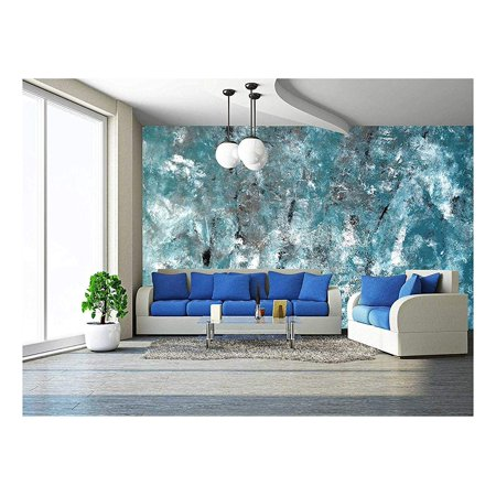 - wall26 - Teal and Grey Abstract Art Painting - Removable Wall Mural | Self-adhesive Large Wallpaper - 66x96 inches