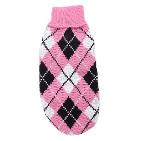 Stylish Rhombus Pattern Pet Puppy Dog Clothes Dog Apparel Sweater Size S -