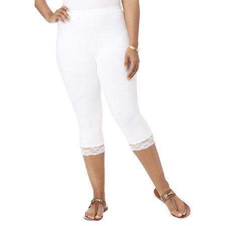Dot Lace Trim Legging (Roaman's Plus Size Essential Stretch Lace-trim Capri Legging )