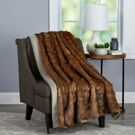 """Faux Fur Throw Blanket- Luxurious, Soft, Hypoallergenic Premium Faux Chinchilla Fur Blanket with Faux Mink Back - 60""""x70"""" By Somerset Home (Brown)"""