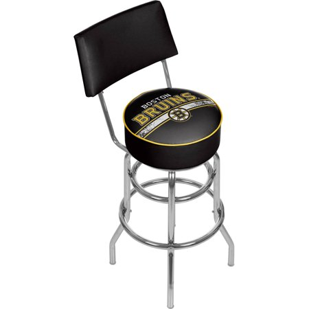 NHL Swivel Bar Stool with Back, Boston Bruins by