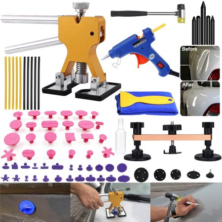 Tools Paintless Dent Removal Remover Repair Puller Kits with Dent Lifter Suction Cup Hot Glue Gun Sticks Pro Tabs -Tools Bag Included